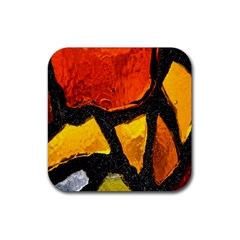 Colorful Glass Mosaic Art And Abstract Wall Background Rubber Square Coaster (4 Pack)  by Amaryn4rt