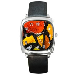 Colorful Glass Mosaic Art And Abstract Wall Background Square Metal Watch by Amaryn4rt