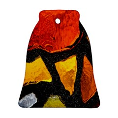 Colorful Glass Mosaic Art And Abstract Wall Background Bell Ornament (two Sides) by Amaryn4rt