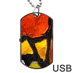 Colorful Glass Mosaic Art And Abstract Wall Background Dog Tag Usb Flash (two Sides) by Amaryn4rt