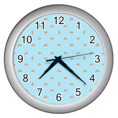 Spaceship Cartoon Pattern Drawing Wall Clocks (silver)  by dflcprints