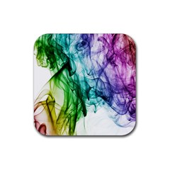 Colour Smoke Rainbow Color Design Rubber Square Coaster (4 Pack)  by Amaryn4rt