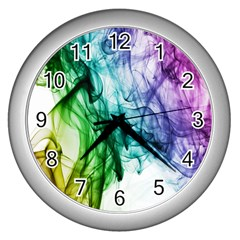 Colour Smoke Rainbow Color Design Wall Clocks (silver)  by Amaryn4rt