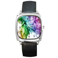 Colour Smoke Rainbow Color Design Square Metal Watch