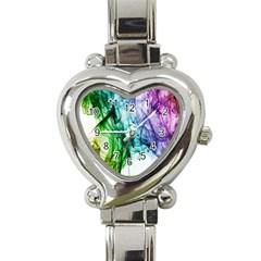 Colour Smoke Rainbow Color Design Heart Italian Charm Watch