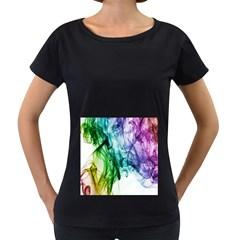 Colour Smoke Rainbow Color Design Women s Loose-Fit T-Shirt (Black)