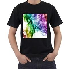 Colour Smoke Rainbow Color Design Men s T-Shirt (Black)