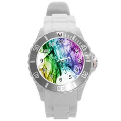 Colour Smoke Rainbow Color Design Round Plastic Sport Watch (l) by Amaryn4rt