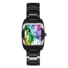 Colour Smoke Rainbow Color Design Stainless Steel Barrel Watch