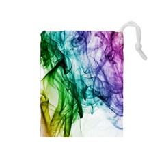 Colour Smoke Rainbow Color Design Drawstring Pouches (medium)  by Amaryn4rt