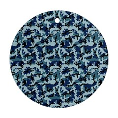 Navy Camouflage Round Ornament (two Sides) by sifis