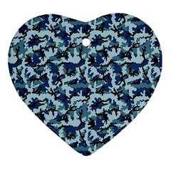 Navy Camouflage Heart Ornament (two Sides) by sifis