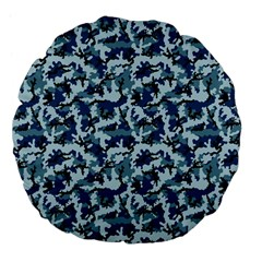 Navy Camouflage Large 18  Premium Flano Round Cushions by sifis
