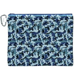 Navy Camouflage Canvas Cosmetic Bag (xxxl) by sifis