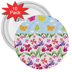 Watercolor Flowers And Butterflies Pattern 3  Buttons (10 Pack)  by TastefulDesigns