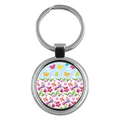 Watercolor Flowers And Butterflies Pattern Key Chains (round)  by TastefulDesigns