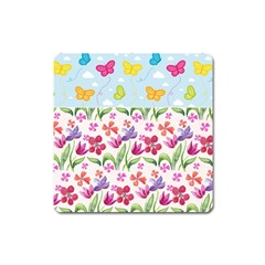 Watercolor Flowers And Butterflies Pattern Square Magnet by TastefulDesigns