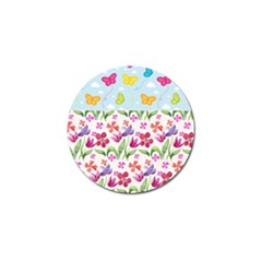 Watercolor Flowers And Butterflies Pattern Golf Ball Marker (4 Pack) by TastefulDesigns