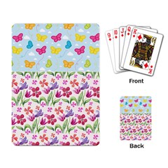 Watercolor Flowers And Butterflies Pattern Playing Card by TastefulDesigns