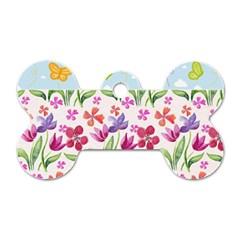Watercolor Flowers And Butterflies Pattern Dog Tag Bone (one Side) by TastefulDesigns
