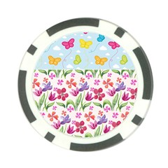 Watercolor Flowers And Butterflies Pattern Poker Chip Card Guard by TastefulDesigns