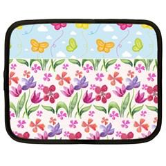 Watercolor flowers and butterflies pattern Netbook Case (XL)  by TastefulDesigns