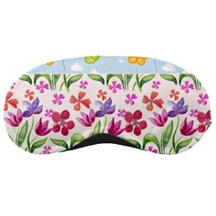 Watercolor Flowers And Butterflies Pattern Sleeping Masks by TastefulDesigns