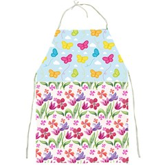 Watercolor Flowers And Butterflies Pattern Full Print Aprons by TastefulDesigns