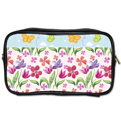 Watercolor Flowers And Butterflies Pattern Toiletries Bags