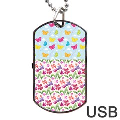 Watercolor Flowers And Butterflies Pattern Dog Tag Usb Flash (one Side) by TastefulDesigns
