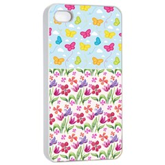 Watercolor Flowers And Butterflies Pattern Apple Iphone 4/4s Seamless Case (white) by TastefulDesigns