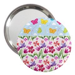 Watercolor Flowers And Butterflies Pattern 3  Handbag Mirrors by TastefulDesigns