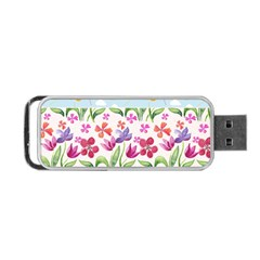 Watercolor Flowers And Butterflies Pattern Portable Usb Flash (two Sides) by TastefulDesigns