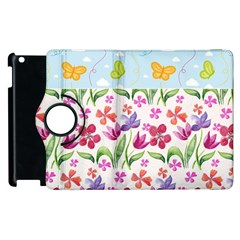 Watercolor Flowers And Butterflies Pattern Apple Ipad 2 Flip 360 Case by TastefulDesigns