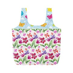 Watercolor Flowers And Butterflies Pattern Full Print Recycle Bags (m)  by TastefulDesigns