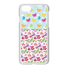 Watercolor Flowers And Butterflies Pattern Apple Iphone 7 Seamless Case (white) by TastefulDesigns