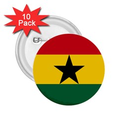 Flag Of Ghana 2 25  Buttons (10 Pack)  by abbeyz71