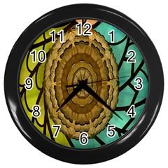 Kaleidoscope Dream Illusion Wall Clocks (black) by Amaryn4rt