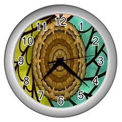 Kaleidoscope Dream Illusion Wall Clocks (silver)  by Amaryn4rt