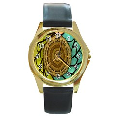 Kaleidoscope Dream Illusion Round Gold Metal Watch by Amaryn4rt