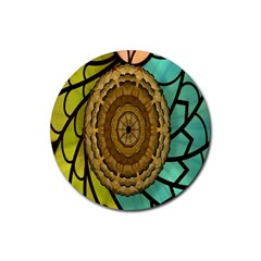 Kaleidoscope Dream Illusion Rubber Round Coaster (4 Pack)  by Amaryn4rt