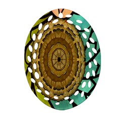 Kaleidoscope Dream Illusion Oval Filigree Ornament (two Sides) by Amaryn4rt