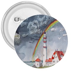 Watercolour Lighthouse Rainbow 3  Buttons by Amaryn4rt