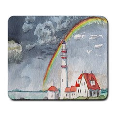 Watercolour Lighthouse Rainbow Large Mousepads by Amaryn4rt