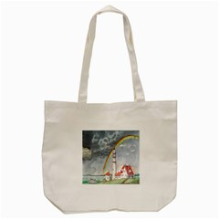 Watercolour Lighthouse Rainbow Tote Bag (cream) by Amaryn4rt
