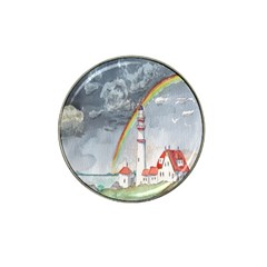 Watercolour Lighthouse Rainbow Hat Clip Ball Marker by Amaryn4rt
