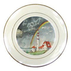 Watercolour Lighthouse Rainbow Porcelain Plates by Amaryn4rt