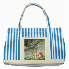 Watercolour Lighthouse Rainbow Striped Blue Tote Bag by Amaryn4rt