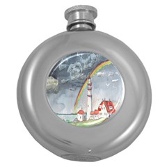 Watercolour Lighthouse Rainbow Round Hip Flask (5 Oz) by Amaryn4rt