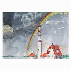 Watercolour Lighthouse Rainbow Large Glasses Cloth (2 Side) by Amaryn4rt